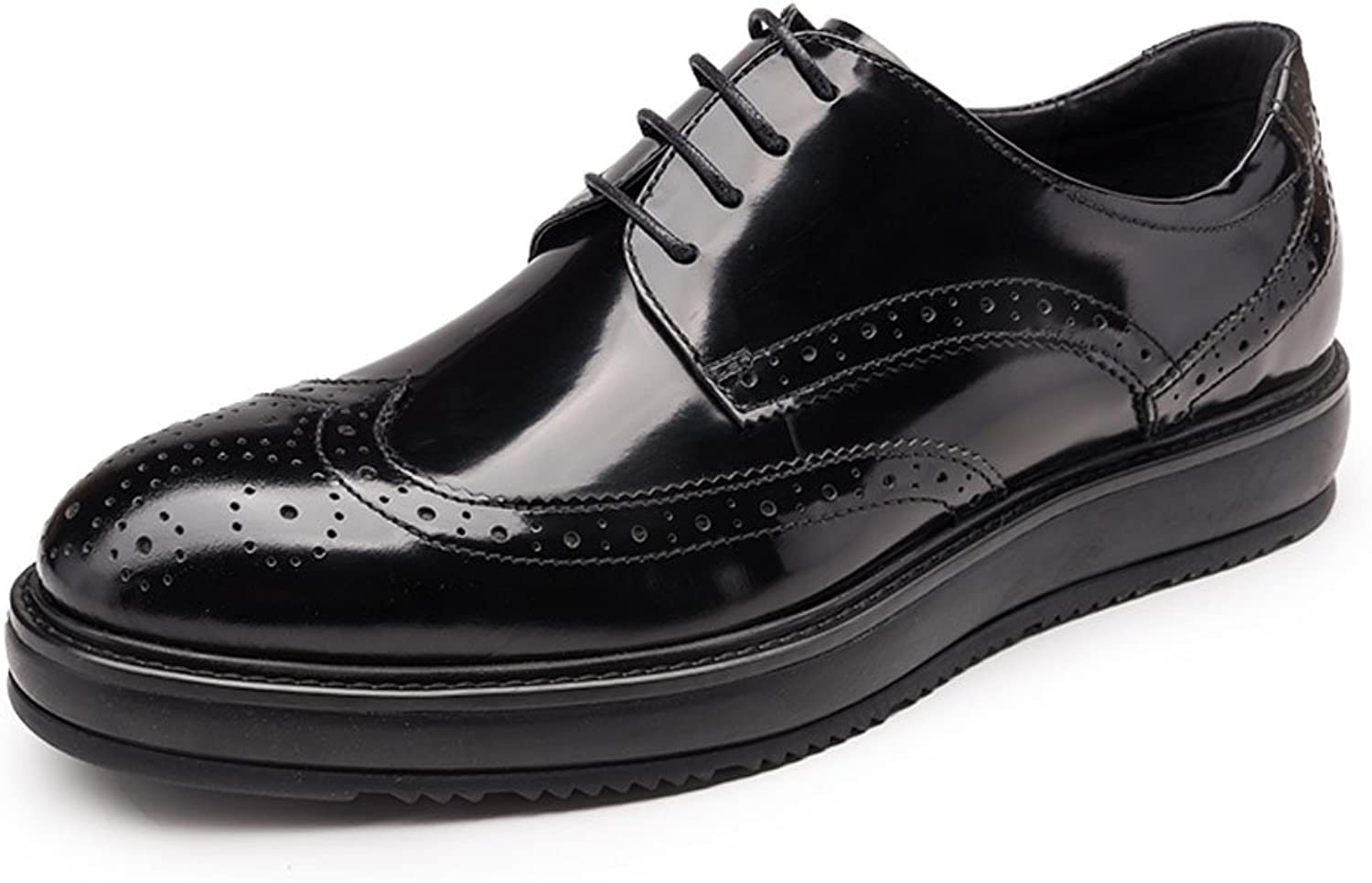 MedzRE Men's Wing Tip Dress Oxford shoes in Black Leather