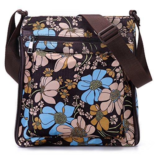 STUOYE Multi-Pocket Nylon Crossbody Purse Bag for Women Coffee Sun Flower