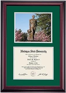 OCM Michigan State Spartans Diploma Frame Green Gray Matting Photograph