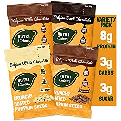 🤤 INDULGENT HEALTHY SNACK - Enjoy delicious chocolate satisfaction with all the fantastic benefits of pumpkin seeds, making a truly healthy snack 💪 HIGH PROTEIN SNACK - 26% protein, that's 8g per bag - more than chicken, fish, nuts & chickpeas 👌 LOW ...