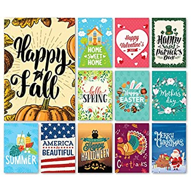 Happy Yard Seasonal Garden Flag Set for Outdoors   Set of 12 Artistically Designed Flags   12-inch x 18-inch   Holiday Themed, Durable & Double-Sided