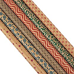 30 x 120 Inches Wrapping Paper and Gift Wrap Rolls - Pack of 6 - Assorted Kraft Gift Wrap Styles for All Occasions - Birthdays, Valentines, Christmas, 2.5x10 Feet
