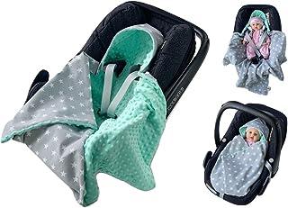 babees© einschlagdecke Minky Baby Carcasa Auto asiento techo [estrellas gris + Mint]