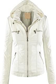 Showlovein レディースライダースジャケット合成皮革 ジャケットフードパーツは着脱可能、長袖チャック付けレディージャケット