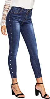 Jeans for Women Fashion High Waisted Pencil Jeans Skinny Embroidered Flares Ankle Length,Blue,M