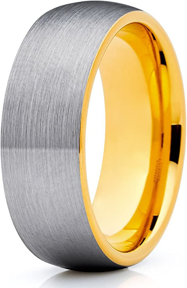 Silly Kings 8mm Gray Tungsten Carbide Wedding Ring Yellow Gold Brushed Dome Shape Men & Women Comfort Fit