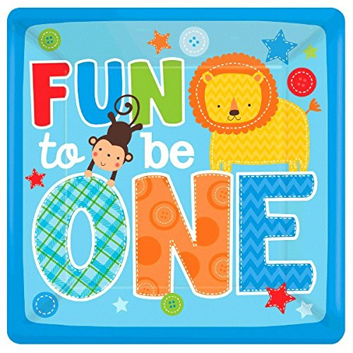 One Wild Boy Birthday Party Square Dinner Plates Tableware, 8 Pieces, Made from Paper, Multi-colored, 10 by Amscan