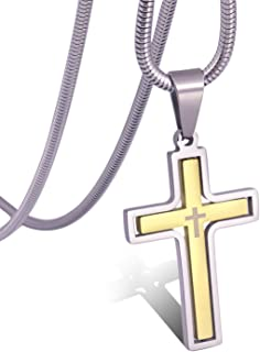 RMOYI Mens Rotatable Cross Necklace Stainless Steel Pendant Necklace Chain,24