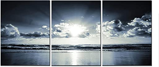 Canvas Wall Art Black White Dark Blue Sea Sunset 12