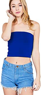 Women's Strapless Tube Stretch Basic Casual Cotton Bandeau Crop Top