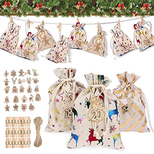 Adventskalender Zum Befüllen Kinder, Stoffbeutel Mit 24 Zahlen Holzanhänger, Weihnachtskalender Bastelset, Weihnachten Geschenksäckchen DIY Tüten Jutesäckchen