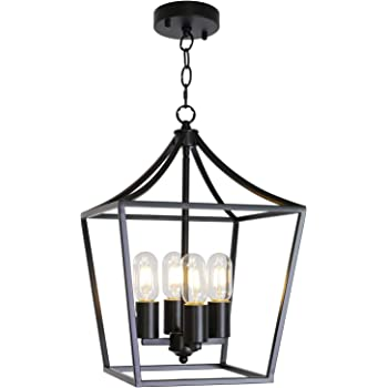 ELUZE 4 Light Chandelier Rustic Industrial Lighting Metal Black Farmhouse Vintage Pendant Lighting for Kitchen Entryway Hallwy Dining Roomd and Living Room