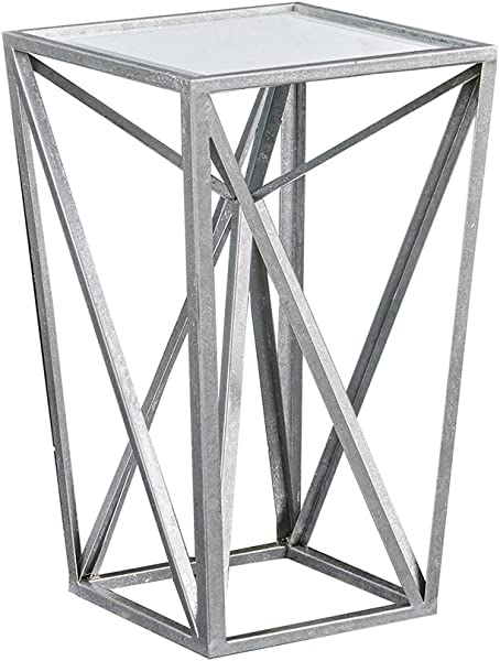 Madison Park MP120 0220 Zee Accent Tables For Living Room Glass Top Hollow Small Metal Frame Geometric Angular Design Luxe Modern Stylish Nightstand Bedroom Furniture Silver
