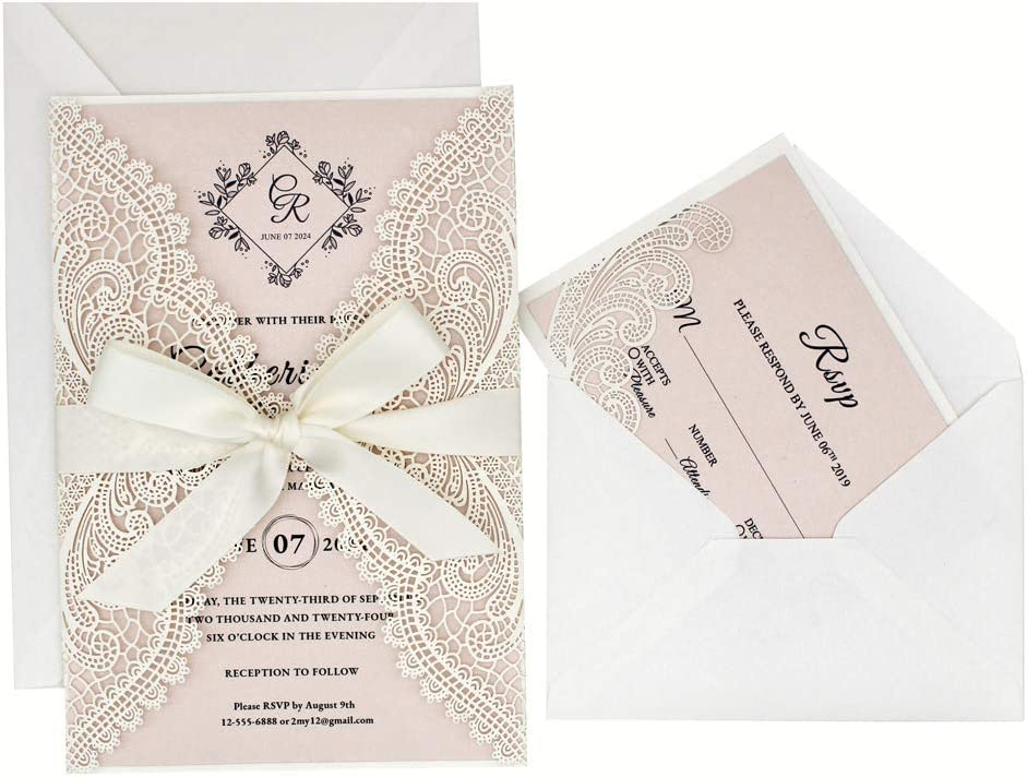 Picky Bride 1PCS Wedding Invitation Sample 5 x 7 inch Lasercut, Lace Blush Pink Wedding Invitations with Envelopes for Wedding Party, Bridal Shower, Anniversary