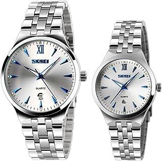 Cool Men'S & Women'S Unique Quartz Wrist Watch With Luminous Blue Markers Date Couple Watch (Set Of 2)
