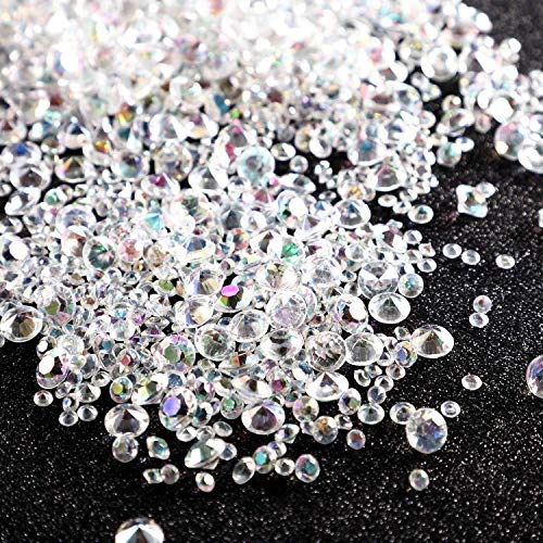 NOTCHIS 2 Pounds Luxury Crystal AB Acrylic Diamonds, Wedding Table Scatter Confetti Crystals, 10mm 6mm and 4.5mm, Decorations for Bridal and Baby Showers, Weddings, Makeup Brush Holders, Vase Fillers