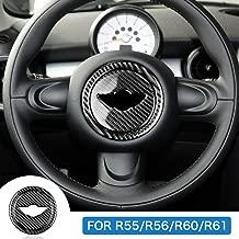 AIRSPEED Car Carbon Fiber Steering Wheel Cover Stickers Decal Interior Trim for Mini Cooper Clubman R55 R56 Countryman R60 Paceman R61 Accessories