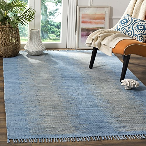 Safavieh Montauk Collection MTK718B Handmade Flatweave Light Blue Cotton Area Rug (5' x 8')