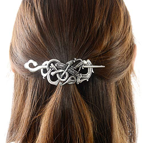 Viking Celtic Hair Clip Hairpins- Viking Hair Accessories Dragon Hair Barrettes Long Hair Pin Hair Sticks Irish Hair Decor for Long Hair Jewelry Braids Hair Clip With Stick