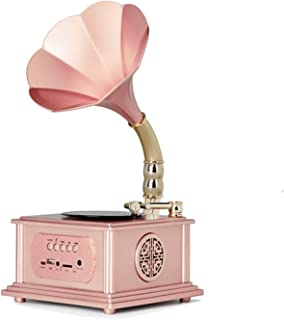$350 » DSWHM Exquisite and Elegant Wooden Gramophone Phonograph Stereo Speakers Turntable Vinyl Record Player System Turntable,Pink