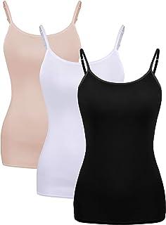 WILLBOND 3 قطع المرأة الأساسية قميص حفر القطن طويل قميص تانك الأعلى قابل للتعديل مطاطا السباغيتي حزام للنساء