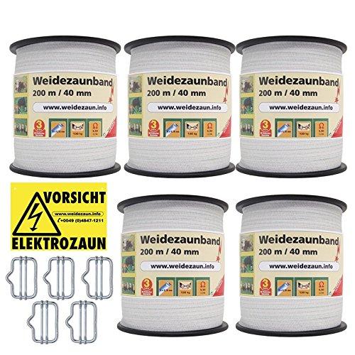 VOSS.farming 5X Weidezaunband, je 200m Länge, passende Breitbandverbinder + EIN Warnschild für Elektrozäune