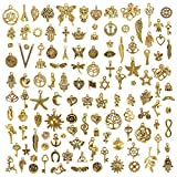 JuanYa 120Pcs Charms for Jewelry Making Wholesale Bulk, Mixed Antique Gold Charms Pendants for DIY Necklaces Bracelets Jewelry Making Supplies