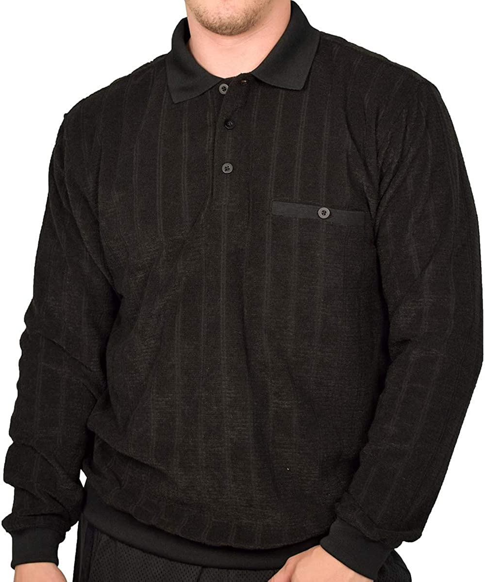 Classics by Palmland Long Sleeve Banded Bottom Shirt 6198-305 Big and Tall Black