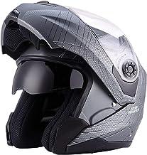 Double Visi/ère Noir Mat Doublure Amovible Casque Modulables Int/égral Casques Moto Homme Femme Adulte pour Scooter Chopper MRDEER/® Casque de Moto avec Masque