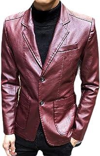 FSSE Men's Regular Fit Faux Leather Casual Suit Business Dress Blazer Jacket Sport Coat