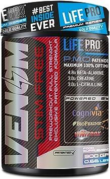 Life Pro New Venom Non Stimulant Pre Workout – Pre entreno sin cafeína ni estimulantes para mejorar la recuperación y el incremento de masa muscular – ...