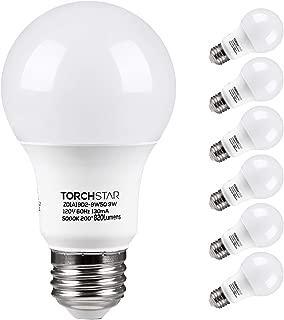 TORCHSTAR A19 LED Light Bulb, UL Listed 9W (60W Equivalent), E26 Standard Base 820lm, 5000K Daylight for Desk Lamp, Floor Lamp, Ceiling Fan, 3 Year Warranty, Pack of 6