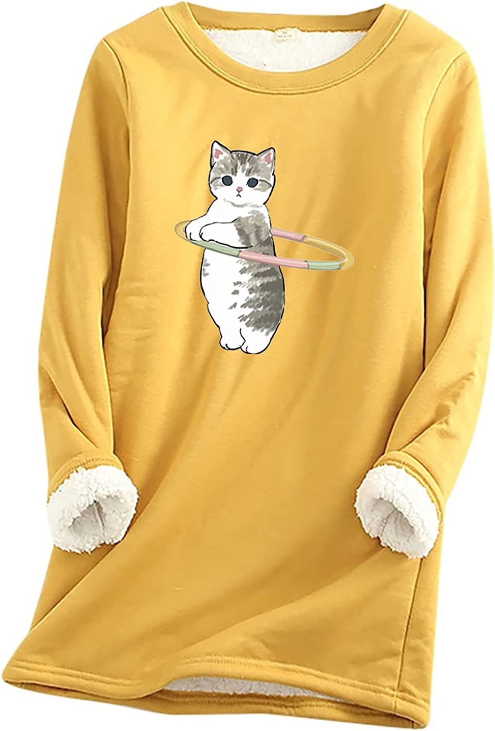 Fall Winter Tops for Women 2021 Fleece Crew Neck Cute Printed Loungewear Thermal Long Shirts Casual Pull Over Blouses
