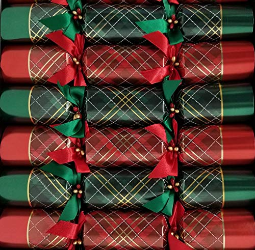 "Tom Smith -Festive Red & Green Holiday Crackers - Pack of 8-13-1/2"" x 2""- Each Containing a Surprise Gift, a foil Crown and a Fun Joke!"