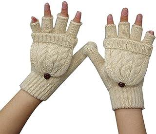 5449d4782c63b Fille Femme Arm Moufle Hiver Chaud Tricot Moitié Doigt Gants avec avec Mitaines  Couverture Beige