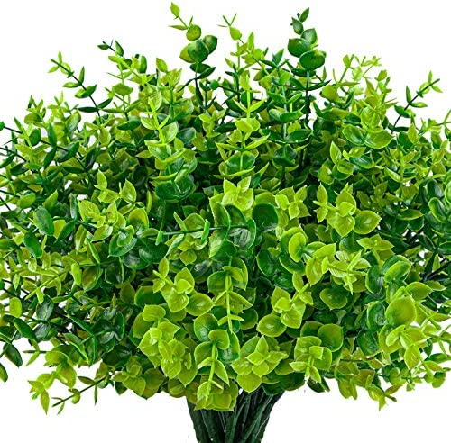 HATOKU 24 Pack Artificial Greenery Outdoor Plants Plastic Boxwood Shrubs Stems for Home Farmhouse product image