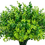 HATOKU 24 Pack Artificial Greenery Plants Bouquets Stems Plastic Boxwood Shrubs Stems for ...