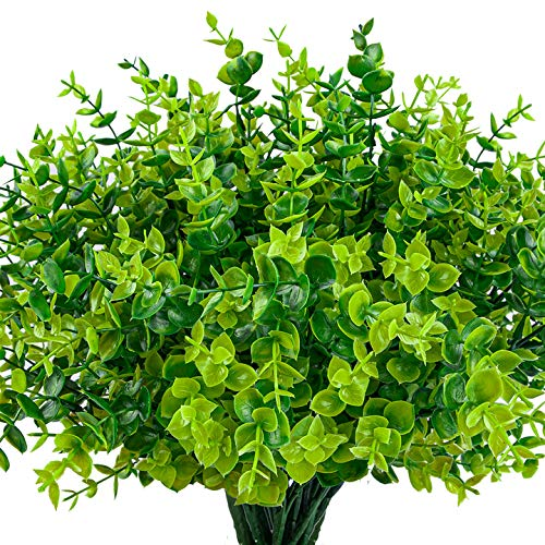 HATOKU 24 Pack Artificial Greenery Outdoor Plants Bouquets Stems Plastic Boxwood Shrubs for Home Farmhouse Garden Office Wedding Indoor Outdoor Decor
