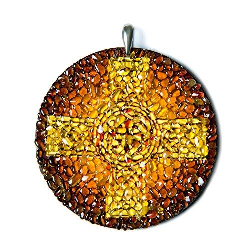 Cruz Celta con Ámbar Báltico hecha a mano amuleto encanto–espi