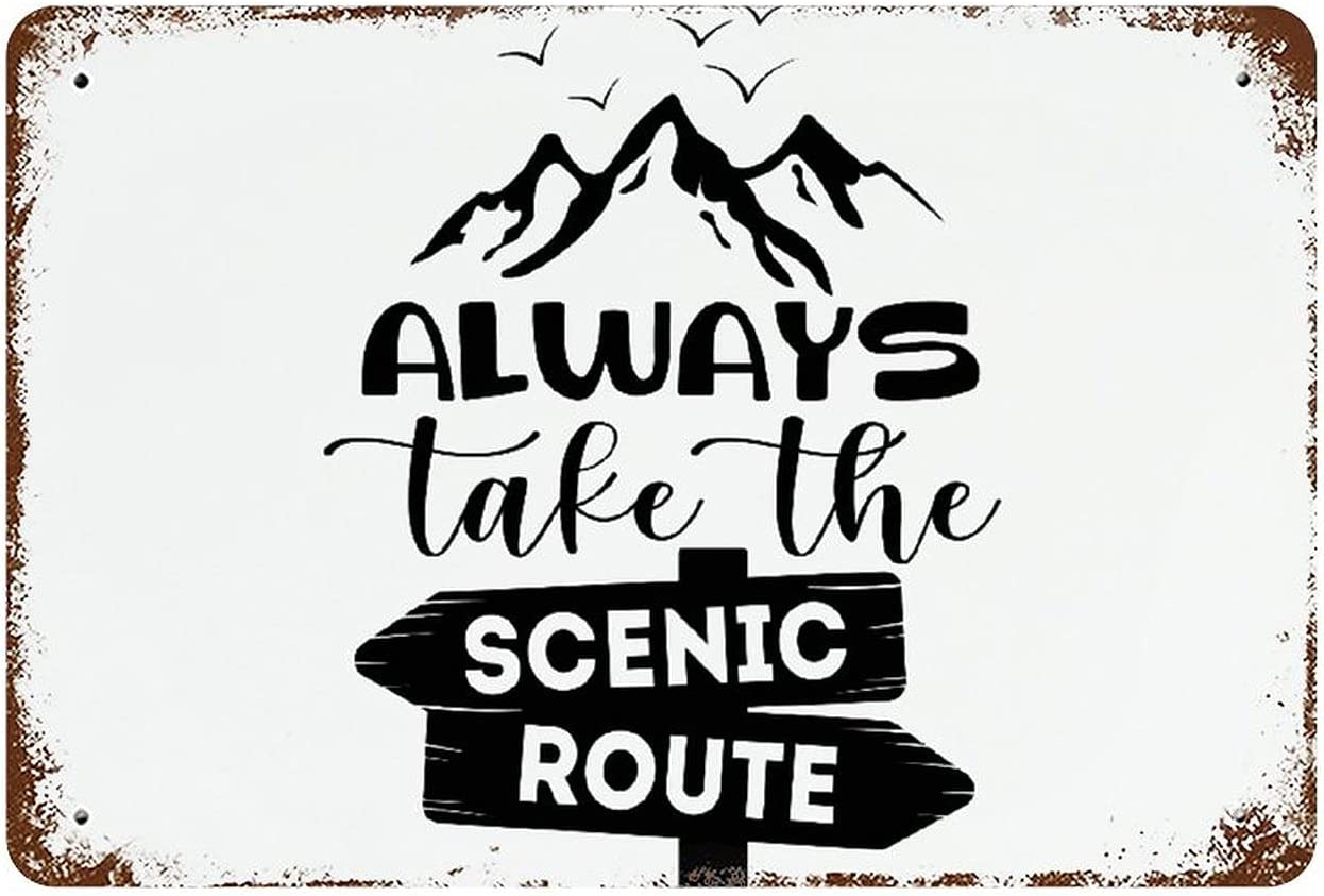 ArogGeld Always Take The Scenic Route Metal Signs Farmhouse Decor Shabby Chic Wall Decor Metal Signs Vintage Funny Cafe Bar Garage Yard Signs Home Decor 8x12 inch