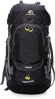 Mochila de Senderismo Impermeable 60L con Cubierta de Lluvia para Excursionismo Alpinismo Acampada Ciclismo al Aire Libre, negro