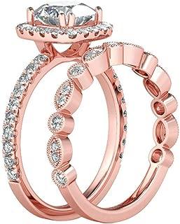 winsopee Rose Gold Bridal Set Zircon Wedding Engagement Couple Stacking Ring Set Women Jewelry Decors