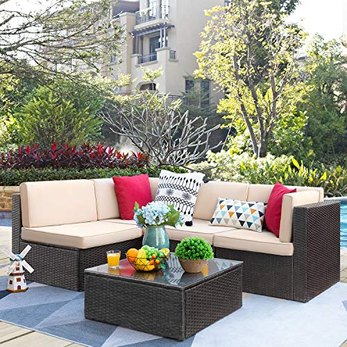 VICTONE Patio Furniture Sets 5 Pieces Outdoor Sectional Rattan Sofa All-Weather Manual Weaving Wicker Sofa (Brown)