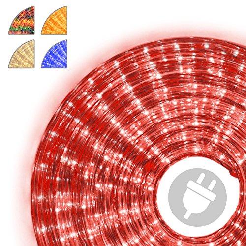 Nipach GmbH 20m Microlichter Lichterschlauch Lichtschlauch rot – Innen- und Außenbereich – Licht-Dekoration für Garten Fest Weihnachten Hochzeit Gesamtlänge ca. 21,50 m