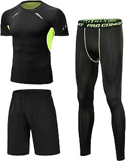 Sykooria 3 Pcs Mens Gym Clothes Set, Mens Compression Set Gym Wear Fitness Clothing Set, Mens Base Layer Set for Gym Worko...