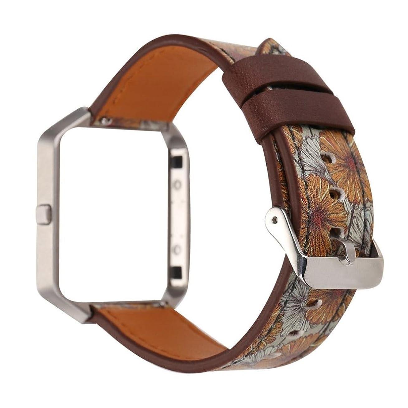 同様の小説解決Ama (TM) for Fitbit Blaze Bands withメタルフレーム、レザーリストバンドスマートストラップ時計バンド交換用