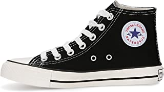 Qimaoo Unisex Canvas High/Low Tops Sneakers, Fashion Casual Lace up Canvas Shoes Trainers for Women Men