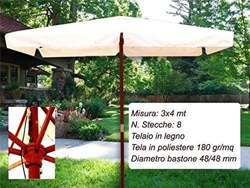 DUE ESSE Ombrellone In Legno Da Giardino Parasole Da Giardino 8 Stecche Con Palo Centrale Colore Ecrù Arredo Giardino