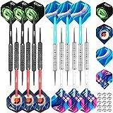 CyeeLife Steel Tip Darts Set 20 Grams with PVC Dart shafts(4 Colors),Black&Sliver Barrels,Home Darts Set