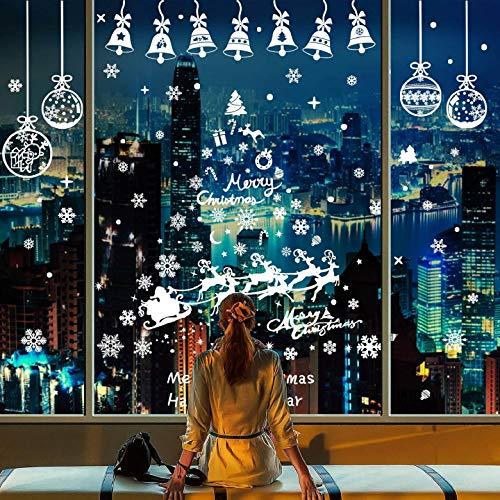 Yuson Girl Natale Adesivi Vetrofanie Display Rimovibile Adesivi Murali Fai da Te Fiocchi di Neve Campanella Natalizia Alce Decorazione Palla da Appendere Albero di Natale Finestra Vetrina Wallpaper